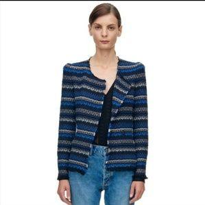 Rebecca Taylor Tweed Knit Variegated Stripe Blazer